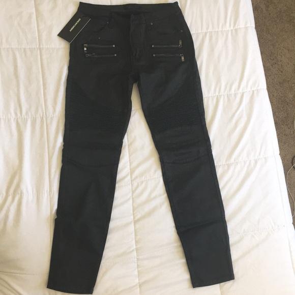 American Bazi Denim - Black moto skinny jeans